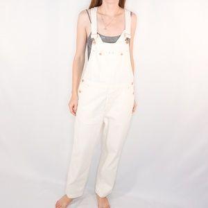 FREE PEOPLE White Denim Suspender Overall Jumpsuit